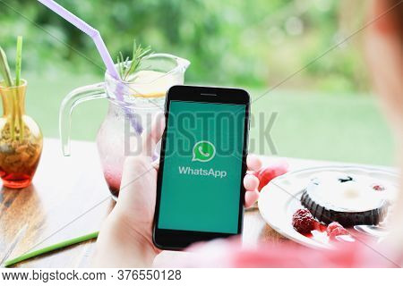 Chiang Mai, Thailand - July 11, 2020 : Woman Holding Iphone 7plus And Open Appstore Searching Social