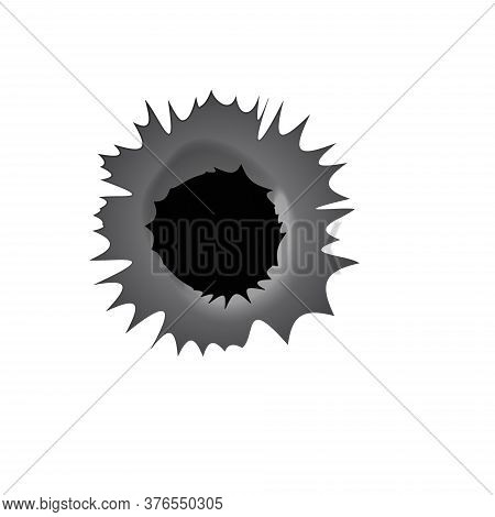 Bullet Hole On White Background. Realisic Metal Bullet Hole, Damage Effect. Vector Illustration