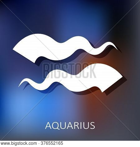 Zodiac Sign Aquarius Isolated On Blue Background. Zodiac Constellation. Design Element For Horoscope