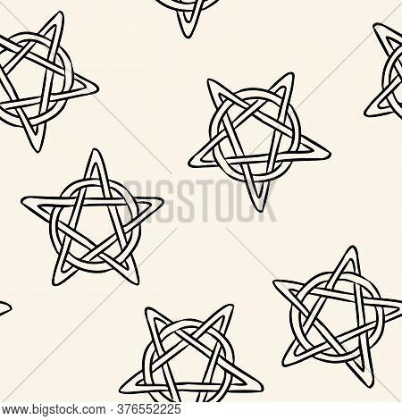 Magic Pentagrams Comic Style Doodles Top View Seamless Pattern. Cozy Wiccan Pentacles Stars Boho Tem