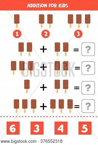 Addition With Cute Cartoon Ice Cream. Math Game.