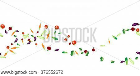 Vector Seamless Pattern With Colorful Tasty Eco Friendly Vegetables. Healthy Food And Lifestyle Desi