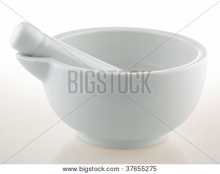 White Porcelain Mortar And Pestle Set