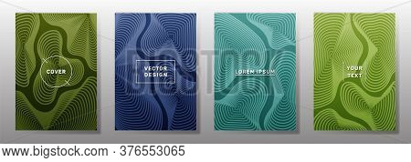 Curve Topography Lines Patterns Vector Futuristic Covers Set. Geography Magazine Front Pages Topogra
