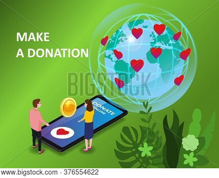 Donating Money By Online Payments Consept. Isometric Smartphone Tiny People Woman Man Gold Coin And