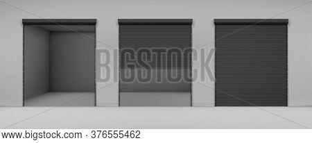 Gate With Black Rolling Shutter In Gray Wall. Vector Realistic Illustration Of Hallway In Garage Or