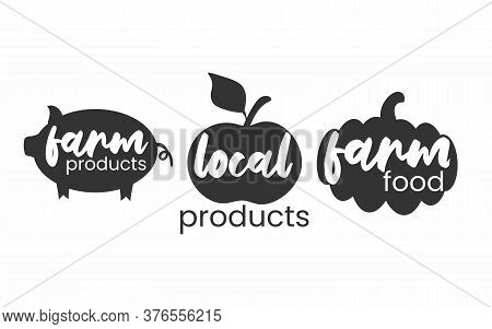 Fermers Products Icon Set. Local Food Simple Stamps Collection. Typographic Eco Farm Insignia In Mon