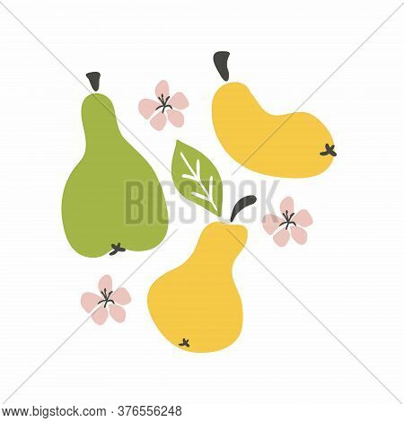 Pear Set. Fruit Whole Pear Leaves And Flowers. Cartoon Doodle Collection. Hand Drawn Vector Illustra