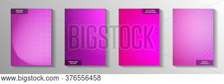 Flat Point Screen Tone Gradation Title Page Templates Vector Kit. Urban Booklet Faded Screen Tone Ba