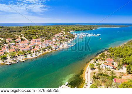 Town Of Veli Rat And Waterfront On Dugi Otok Island On Adriatic Sea In Croatia, Aerial View