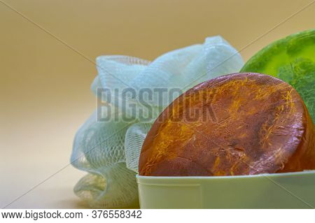 Orange And Green Glycerin Soap Handmade Washcloth