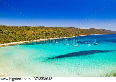 Beautiful Croatia. Aerial View Of Azure Turquoise Lagoon On Sakarun Beach On Dugi Otok Island, Croat