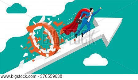 Super Businessman Running And Breaking Target. Business Man In Suit With Briefcase. Goal Setting. Sm