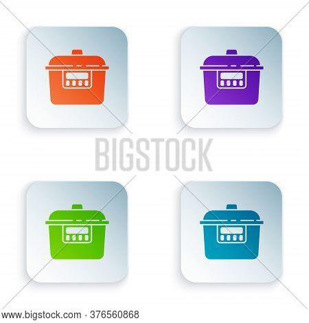 Color Slow Cooker Icon Isolated On White Background. Electric Pan. Set Colorful Icons In Square Butt