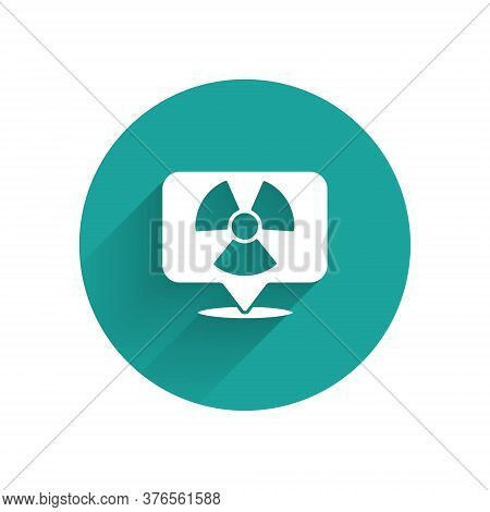 White Radioactive In Location Icon Isolated With Long Shadow. Radioactive Toxic Symbol. Radiation Ha