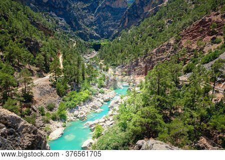Emerald Color Mountain River Flows Through A Gorge. Ermenek River, Mersin Province, Turkey
