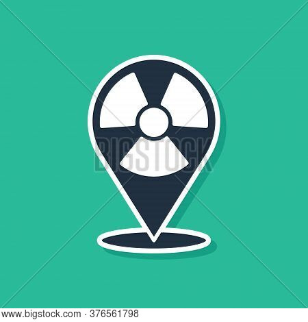 Blue Radioactive In Location Icon Isolated On Green Background. Radioactive Toxic Symbol. Radiation