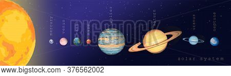 Solar System Sun Venus Mercury Mars Earth Jupiter Saturn Uranus Neptune. Colorful Planets On The Dee