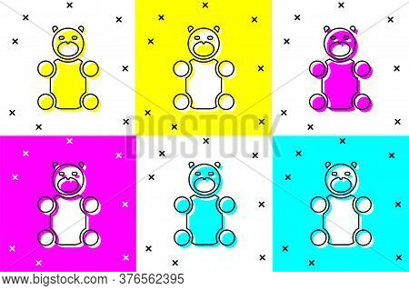 Set Jelly Bear Candy Icon Isolated On Color Background. Vector
