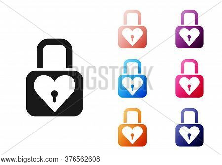 Black Lock And Heart Icon Isolated On White Background. Locked Heart. Love Symbol And Keyhole Sign.
