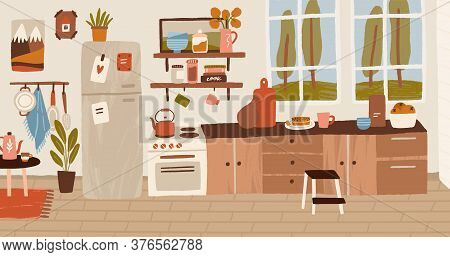 Cozy Rustic Hand Drawn Kitchen Interior Vector Flat Illustration. Colorful Stove, Wooden Table, Cook