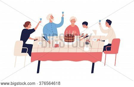 Family Celebration Of Grandparents Birthday. People Sitting At Table With Cake, Candles, Raise Glass