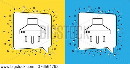 Set Line Kitchen Extractor Fan Icon Isolated On Yellow And Blue Background. Cooker Hood. Kitchen Exh