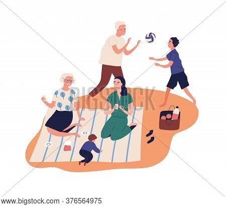 Active Grandparents Spend Time With Grandchildren At Picnic. Family Rest Outdoors, Play, Drink Juice