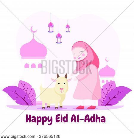 Eid Al Adha Mubarak Illustration. Celebration Of Muslim Holiday. Flat Illustration Style Of Hijab Gi