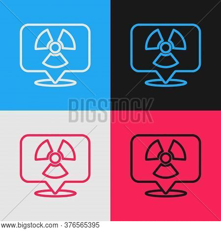 Pop Art Line Radioactive In Location Icon Isolated On Color Background. Radioactive Toxic Symbol. Ra