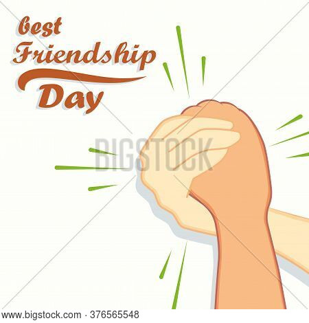Vector Hand For Happy Friendship Day. Friendship Day With Holding Promise Hand