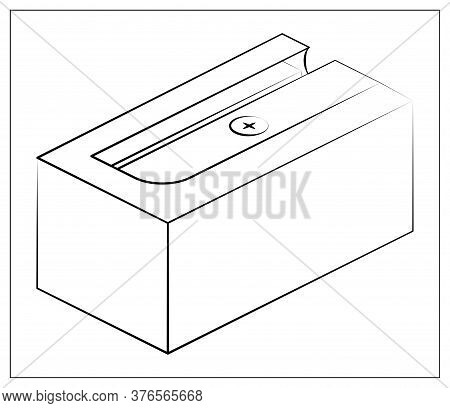 Vector Silhouette Sharpener Icon. Outline Vector Illustration Of Sharpener For Pencil For Web, Logo,