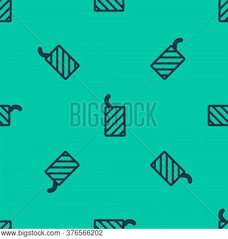 Blue Line Firework Rocket Icon Isolated Seamless Pattern On Green Background. Concept Of Fun Party.
