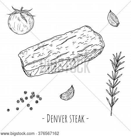 Denver Steak. Vector Cartoon Illustration. Isolated Object On White.