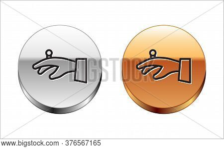 Black Line Wedding Rings On Hand Icon Isolated On White Background. Bride And Groom Jewelry Sign. Ma