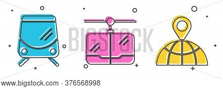 Set Tram And Railway, Cable Car And Location On The Globe Icon. Vector