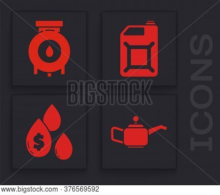 Set Canister For Motor Machine Oil, Oil And Gas Industrial Factory Building, Canister For Gasoline A