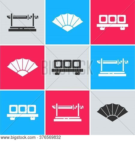 Set Traditional Japanese Katana, Paper Chinese Or Japanese Folding Fan And Sushi On Cutting Board Ic