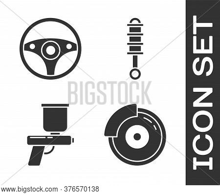 Set Car Brake Disk With Caliper, Steering Wheel, Paint Spray Gun And Shock Absorber Icon. Vector