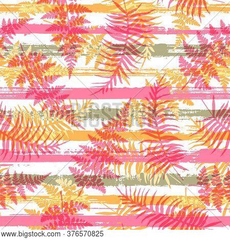 Decorative New Zealand Fern Frond And Bracken Grass Overlapping Stripes Vector Seamless Pattern. Bal