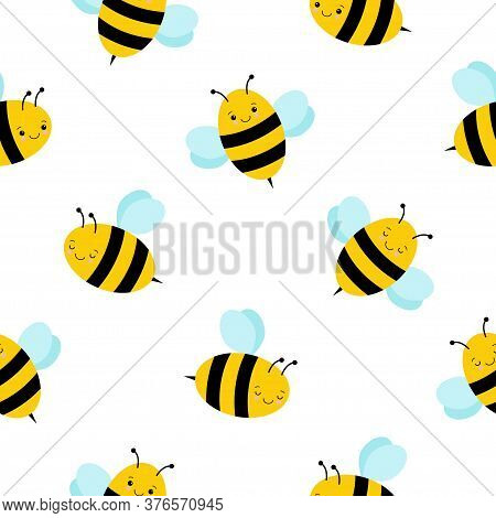 Cute Bee. Kawaii Bee Icon. Ornament. Pattern. Honey Bee. Isolated Insect Icon. Flying Bumblebee.