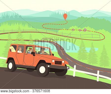 The Family Drives To The Destination On The Map. Travelers Have Built A Route On The Map. A Family W