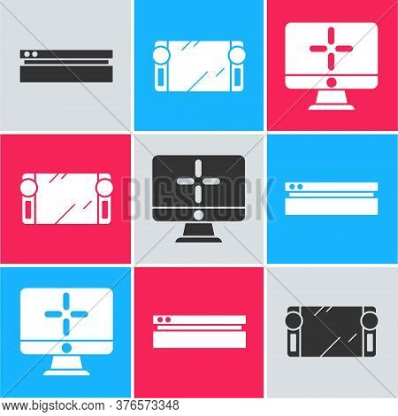 Set Video Game Console, Portable Video Game Console And Computer Monitor Icon. Vector