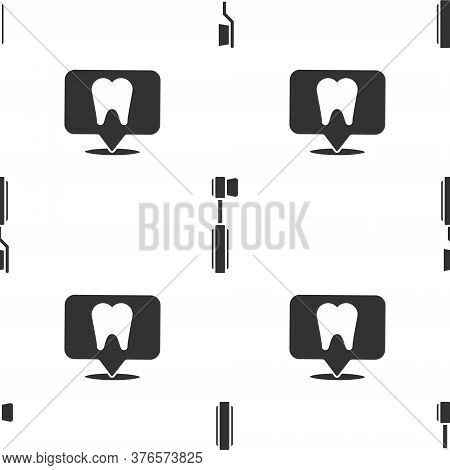 Set Toothbrush, Toothbrush And Dental Clinic Location On Seamless Pattern. Vector