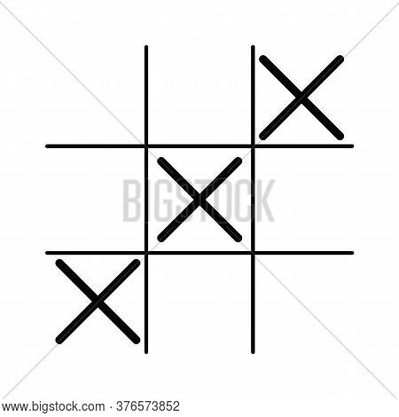 Game Icon. Tic Tac Toe Game With Cross And Circle. Tic Tac Toe. Three Cross
