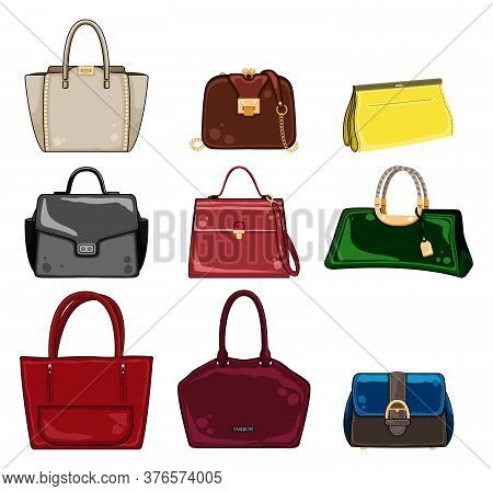 Set Of Stylish Womens Handbags - Tote, Shopper, Hobo, Bucket, Satchel And Pouch Bags. Leather Bag Wi