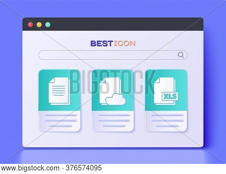 Set Cloud Storage Text Document, Document And Xls File Document Icon. Vector