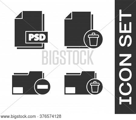 Set Delete Folder, Psd File Document, Document Folder With Minus And Delete File Document Icon. Vect