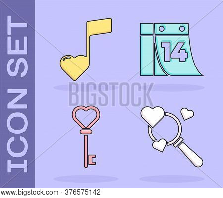Set Search Heart And Love, Music Note, Tone With Hearts, Key In Heart Shape And Calendar With Februa