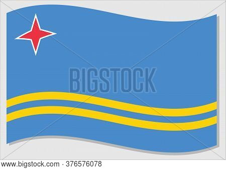 Waving Flag Of Aruba Vector Graphic. Waving Aruban Flag Illustration. Aruba Country Flag Wavin In Th